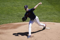 Minnesota Twins' pitcher J.A. Happ throws against the Kansas City Royals in the first inning of a baseball game, Saturday, May 29, 2021, in Minneapolis. (AP Photo/Jim Mone)