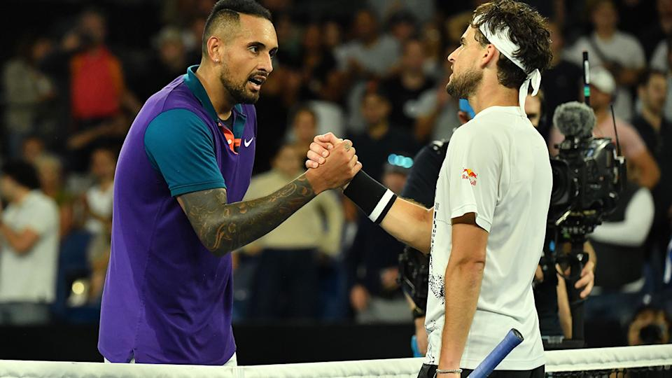 Nick Kyrgios and Dominic Thiem, pictured here after their match at the Australian Open.