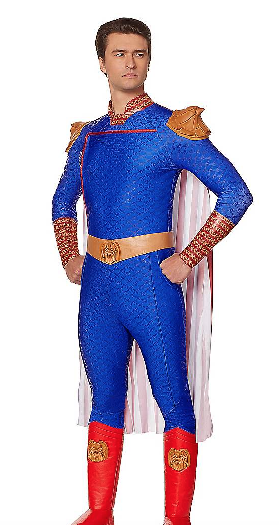 """<p>spirithalloween.com</p><p><strong>$59.99</strong></p><p><a href=""""https://go.redirectingat.com?id=74968X1596630&url=https%3A%2F%2Fwww.spirithalloween.com%2Fproduct%2Fadult-homelander-costume-the-boys%2F218190.uts%3FExtid%3Dsf_froogle&sref=https%3A%2F%2Fwww.menshealth.com%2Fstyle%2Fg37180557%2Fpop-culture-halloween-costumes-for-men-2021%2F"""" rel=""""nofollow noopener"""" target=""""_blank"""" data-ylk=""""slk:Shop Now"""" class=""""link rapid-noclick-resp"""">Shop Now</a></p><p>Never has there been a more horrible hero. Make sure to bring some milk with you to the costume party. </p>"""