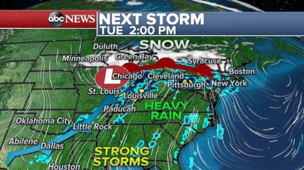Another storm is expected to bring snow to the northern U.S. and heavy rain to the South beginning on Tuesday afternoon. (ABC News)