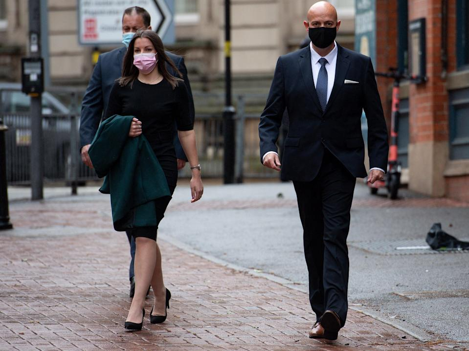 West Mercia Police Constables Mary Ellen Bettley-Smith and Benjamin Monk (right) arrive at Birmingham Crown CourtJacob King/PA