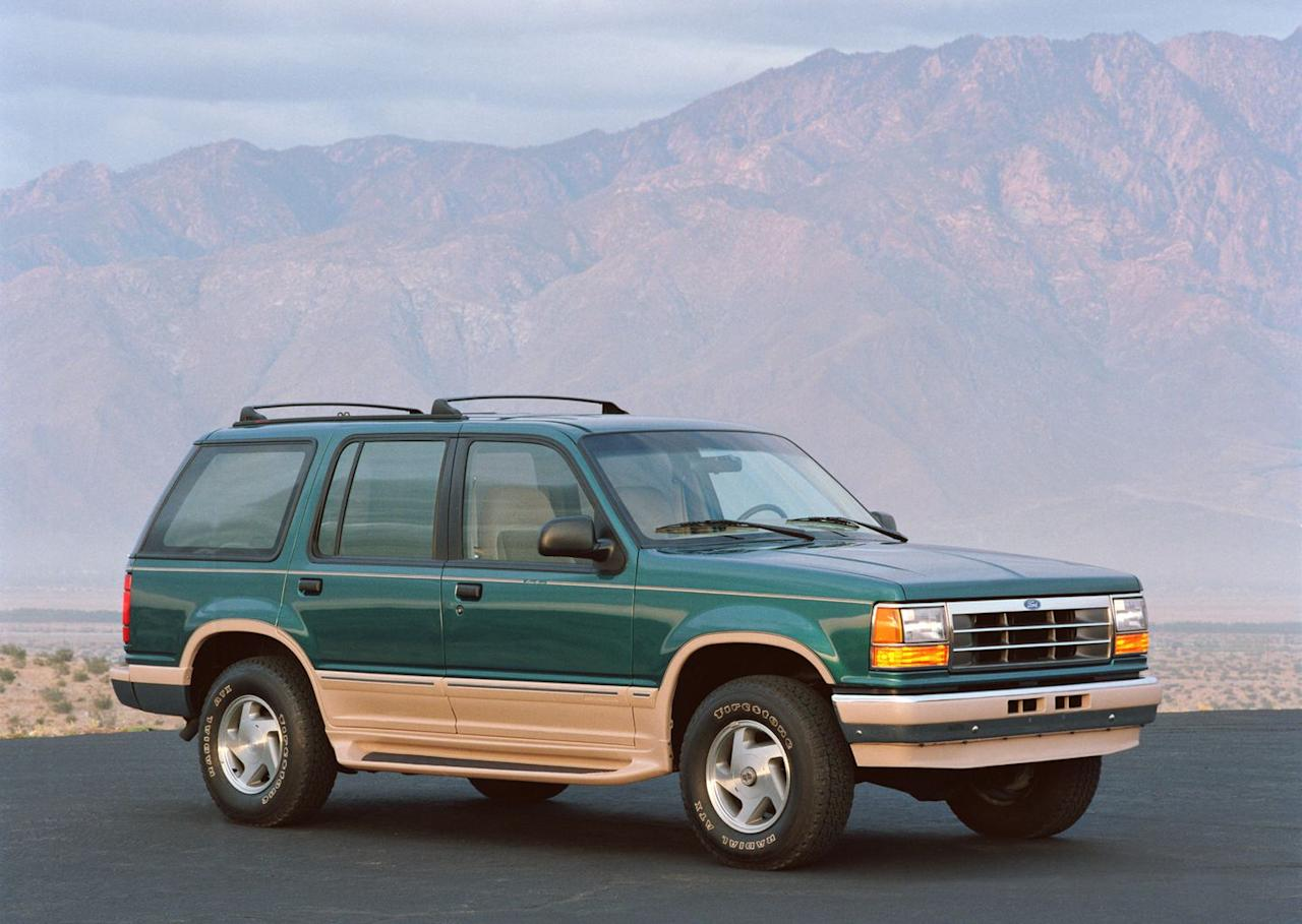 <p>From the get-go, Ford's top-level Explorer is named for the Eddie Bauer outdoor-apparel brand (a 1993 model is pictured). Sitting above the XL, Sport, and XLT trims, the Eddie Bauer Explorer comes fully loaded with premium cloth upholstery, two-tone paint, and every available power option. Ford would put the Eddie Bauer trim to pasture nearly twenty years later-pretty much around the same time the Eddie Bauer brand ceased to generate much excitement. </p>
