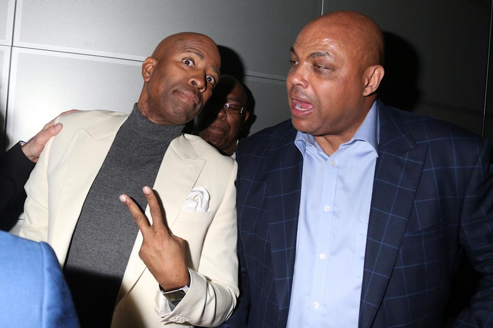 CHARLOTTE, NC - FEBRUARY 15: Kenny Smith and Charles Barkley at the Kenny 'The Jet' Smith 2019 NBA All-Star Bash at the NASCAR Hall Of Fame in Charlotte, North Carolina on February 15, 2019. Credit: Walik Goshorn/MediaPunch /IPX