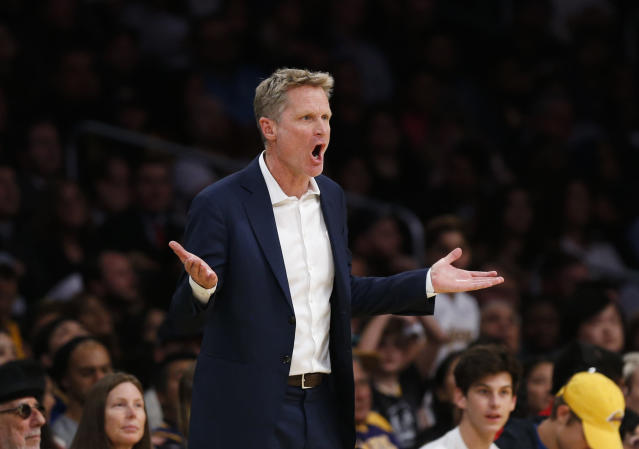 "Thus far, this season, <a class=""link rapid-noclick-resp"" href=""/nba/teams/gsw/"" data-ylk=""slk:Golden State Warriors"">Golden State Warriors</a> head coach Steve Kerr has suffered no setbacks related to his 2015 back surgery. (AP Photo/Ringo H.W. Chiu)"
