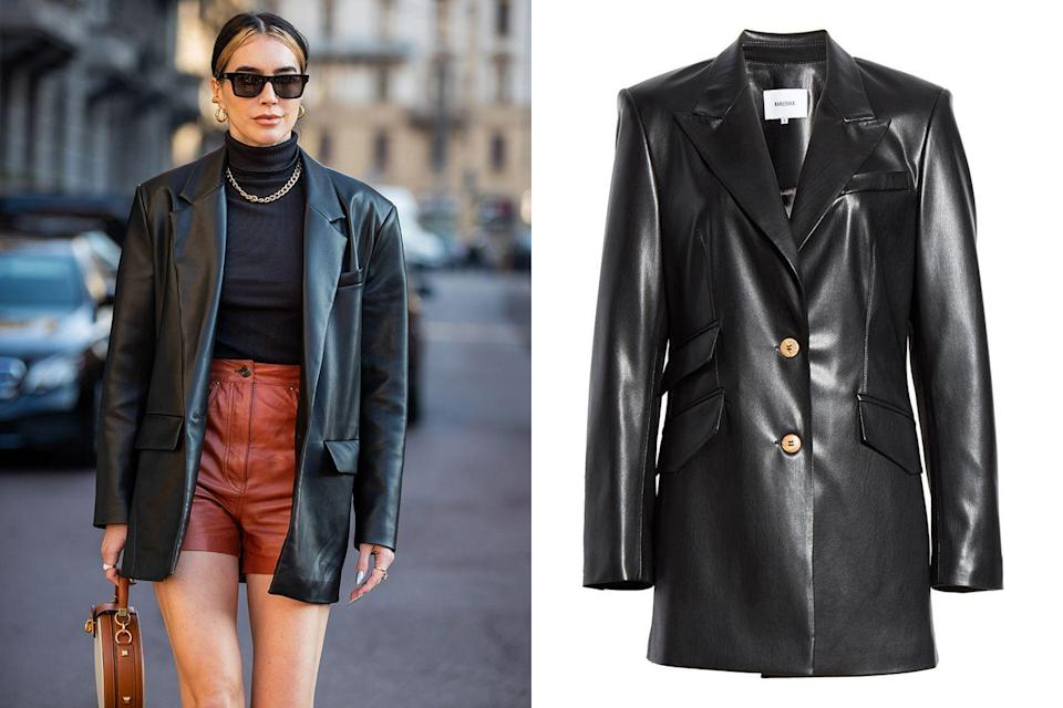 """<p>A little (vegan) leather never hurt nobody. Who said leather is only for the fall? Leather can work for spring just as easily. You call the shots in this polished power blazer. Bust out the hot pants to show off some skin as you strut around the city for all your weekend plans.</p><p><em><a href=""""https://shop.nordstrom.com/s/nanushka-cancun-vegan-leather-blazer/5440356/lite"""" rel=""""nofollow noopener"""" target=""""_blank"""" data-ylk=""""slk:Nanushka Cancun Vegan Leather Blazer"""" class=""""link rapid-noclick-resp"""">Nanushka Cancun Vegan Leather Blazer</a>; $585</em></p><p><em>•••</em></p><p><em><em>For more stories like this, including celebrity news, beauty and fashion advice, savvy political commentary, and fascinating features, sign up for the </em>Marie Claire<em> newsletter (</em></em><em><a href=""""https://link.marieclaire.com/join/3oa/mar-newsletter?authId=F0CC0C27-80DA-4734-ABDF-E4115B84A56B&maj=WNL&min=ARTICLES"""" rel=""""nofollow noopener"""" target=""""_blank"""" data-ylk=""""slk:subscribe here"""" class=""""link rapid-noclick-resp"""">subscribe here</a>).</em></p>"""