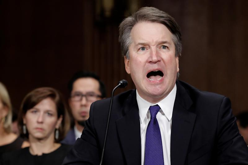 "Kavanaugh testified that his yearbook reference to being the biggest contributor to the ""Beach Week Ralph Club"" was about spicy food making him vomit, not about partying and drinking to the point of puking. (Jim Bourg / Reuters)"
