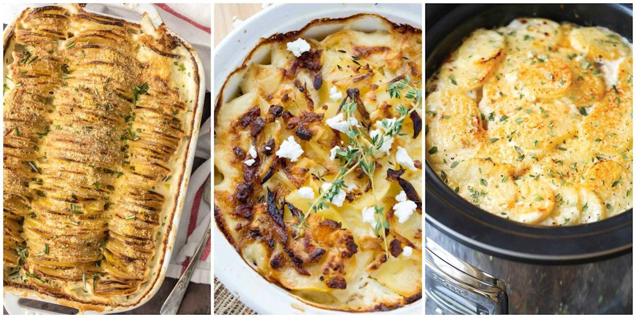 <p>There's nothing that we love more than a hearty and cheesy potato dish to serve as a dinner side. Check out these easy and indulgent recipes that make great contenders for your upcoming Thanksgiving feast and holiday menu, too.</p>