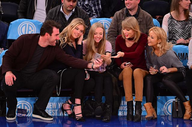 <p>Justin Verlander, Kate Upton, Amanda Seyfried, Taylor Swift and guest attend the Orlando Magic vs New York Knicks game at Madison Square Garden on November 12, 2014 in New York City. (Photo by James Devaney/GC Images) </p>