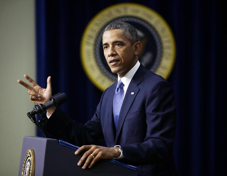 In this Sept. 16, 2013, photo, President Barack Obama speaks in the South Court Auditorium on the White House complex in Washington. Obama and Democrats frequently criticize Republicans for focusing so much attention on repeal efforts of Obamacare without coming up with an alternative. A large group of House conservatives intends to unveil legislation providing an expanded tax break for consumers who purchase their own health coverage and increasing the government funding for high-risk pools, according to lawmakers who said the plan marked the Republicans' first comprehensive alternative to Obamacare. (AP Photo/Pablo Martinez Monsivais)