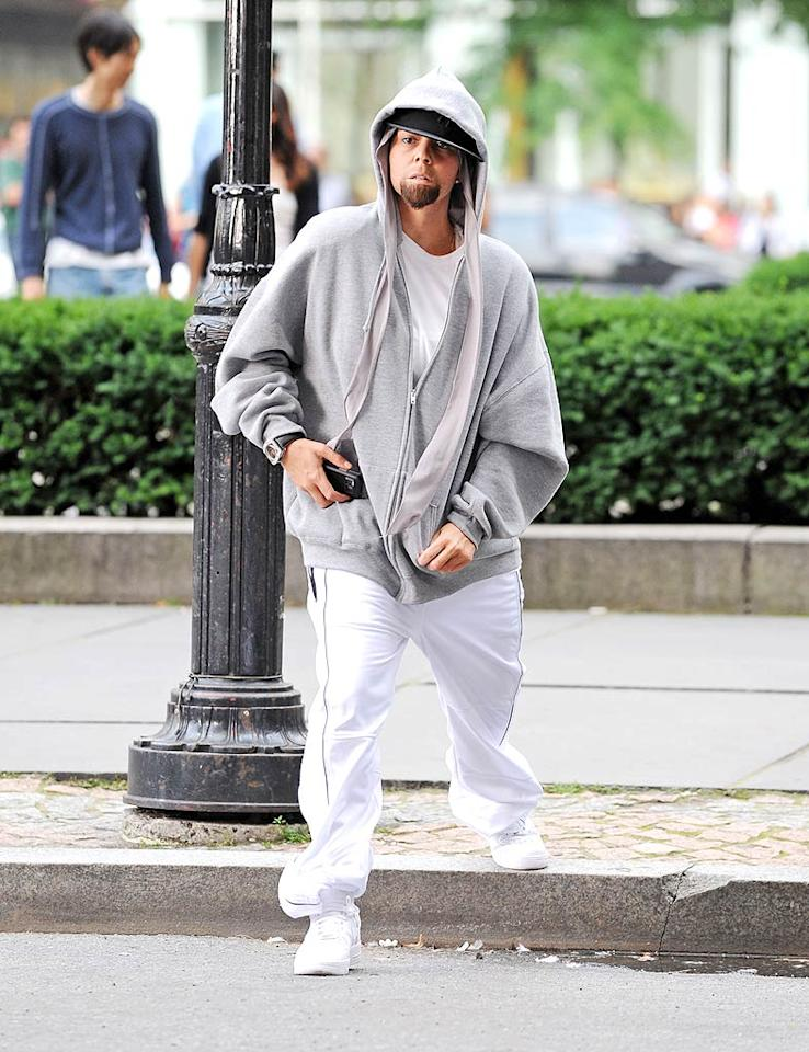 """Mariah Carey dressed as Eminem for part of her Obsessed"""" video shoot this week. Why? The diva's latest single is a response to the rapper mentioning their supposed relationship in his song """"Bagpipes From Baghdad."""" Ron Asadorian-Eddie Mejia/<a href=""""http://www.splashnewsonline.com"""" target=""""new"""">Splash News</a> - June 29, 2009"""