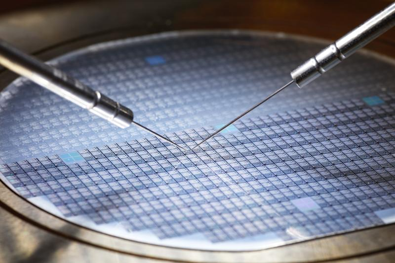 Semiconductors on a wafer.