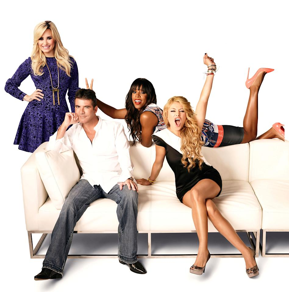 "Demi Lovato, Simon Cowell, Kelly Rowland, and Paulina Rubio on Season 3 of ""The X Factor."""