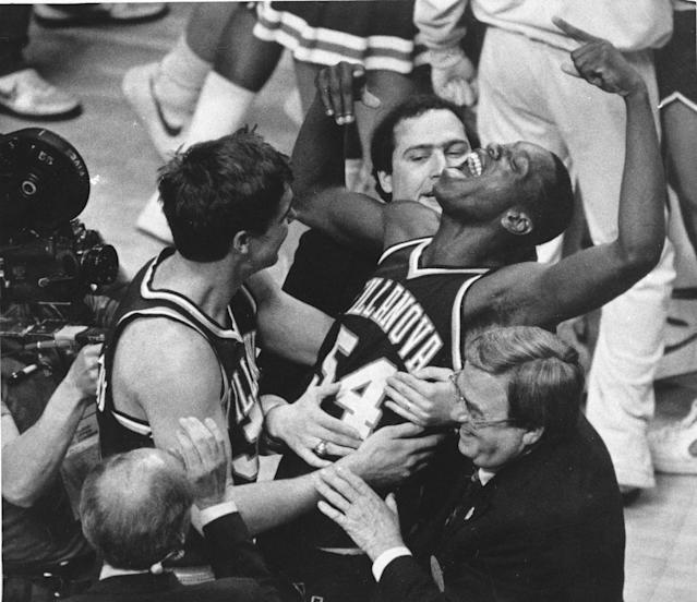 <p>The 1985 Villanova team remains the worst seed (8) to ever with an NCAA title and it's also the biggest championship game upset, according to Vegas point spreads. Georgetown was a nine-point favorite and came into this game as defending national champs with a guy named Patrick Ewing as a senior. Villanova finished fourth place and five full games behind Georgetown in the same Big East conference as Georgetown that year. But thanks to an unbelievable 78.6 percent (!) shooting clip, the Wildcats pulled off the miracle win. </p>