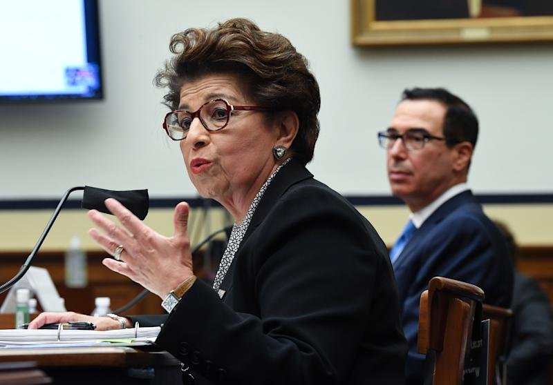 Treasury Secretary Steven Mnuchin listens while Small Business Administration Administrator Jovita Carranza speaks at a House Small Business Committee hearing at the U.S. Capitol on July 17, 2020 in Washington, DC. (Kevin Dietsch-Pool/Getty Images)