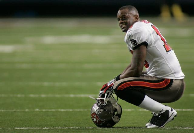 Buccaneers Hilliard looks up after a fourth down in the fourth quarter against the Atlanta Falcons at their NFL football game in Atlanta.