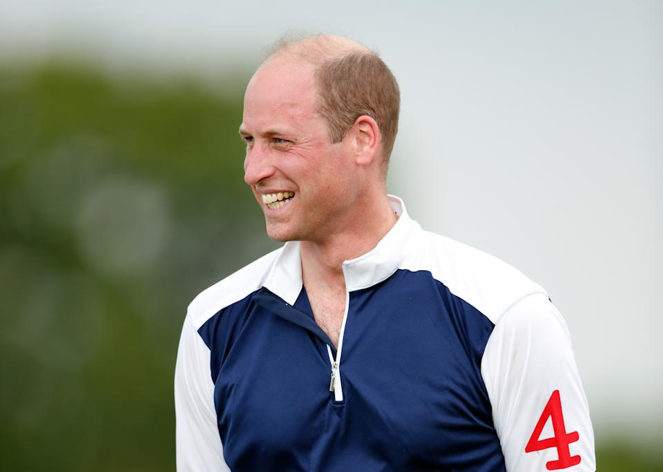 WINDSOR, UNITED KINGDOM - JULY 09: (EMBARGOED FOR PUBLICATION IN UK NEWSPAPERS UNTIL 24 HOURS AFTER CREATE DATE AND TIME) Prince William, Duke of Cambridge attends the prize-giving after playing in the Out-Sourcing Inc. Royal Charity Polo Cup at Guards Polo Club, Flemish Farm on July 9, 2021 in Windsor, England. (Photo by Max Mumby/Indigo/Getty Images)