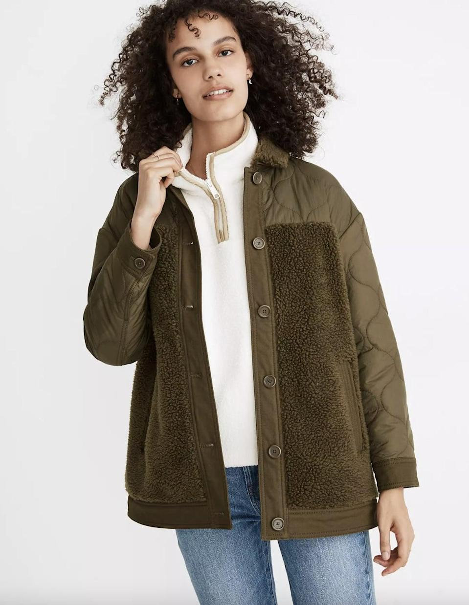 <p>This <span>Madewell Hybrid Sherpa Jacket</span> ($120, originally $175) is a classic you'll wear over and over again.</p>