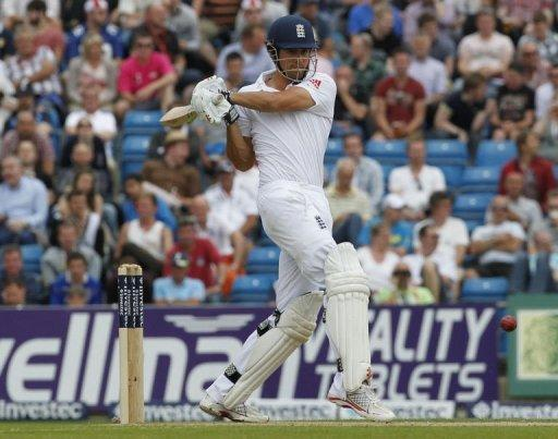 England's Alastair Cook hits a shot during day two of the second international Test cricket match between England and South Africa at Headingley Carnegie in Leeds. England were 48 for no wicket when bad light ended play with 22 overs still due to be bowled