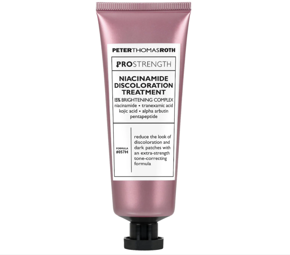 """<p><strong>Peter Thomas Roth</strong></p><p>sephora.com</p><p><strong>$88.00</strong></p><p><a href=""""https://go.redirectingat.com?id=74968X1596630&url=https%3A%2F%2Fwww.sephora.com%2Fproduct%2Fpeter-thomas-roth-pro-strength-niacinamide-discoloration-treatment-P454102&sref=https%3A%2F%2Fwww.prevention.com%2Fbeauty%2Fskin-care%2Fg34339161%2Fbest-niacinamide-serums%2F"""" rel=""""nofollow noopener"""" target=""""_blank"""" data-ylk=""""slk:SHOP NOW"""" class=""""link rapid-noclick-resp"""">SHOP NOW</a></p><p>When your focus is on revving skin's radiance and chasing away discoloration, this niacinamide complex contains a bevy of brighteners. Along with niacinamide, <strong>there's tranexamic and kojic acids to tackle discolorations</strong>, says Dr. Patel. The overwhelmingly positive reviews say that this product has helped lighten scars, acne marks, and hyperpigmentation while improving the texture of skin.</p>"""