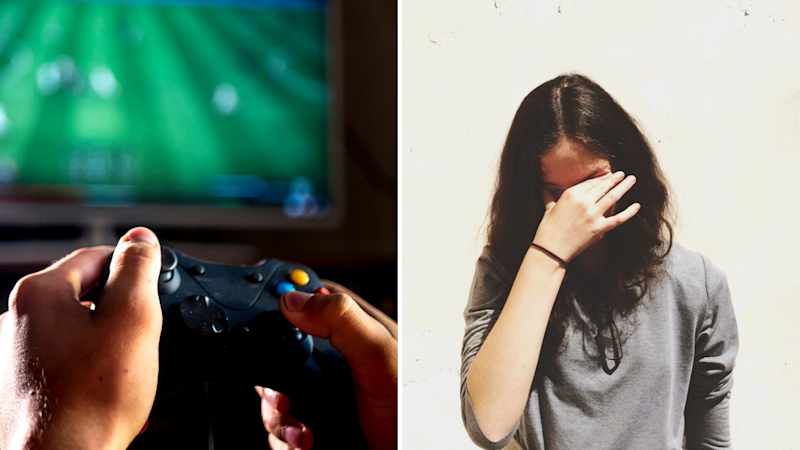 Pictured: Child playing Xbox and upset mother. Images: Getty