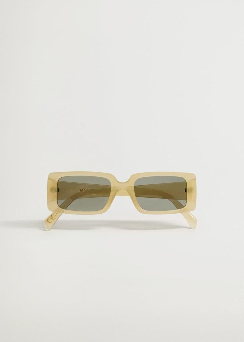 <p>These <span>Mango Squared Frame Sunglasses</span> ($30) are the perfect spring color.</p>