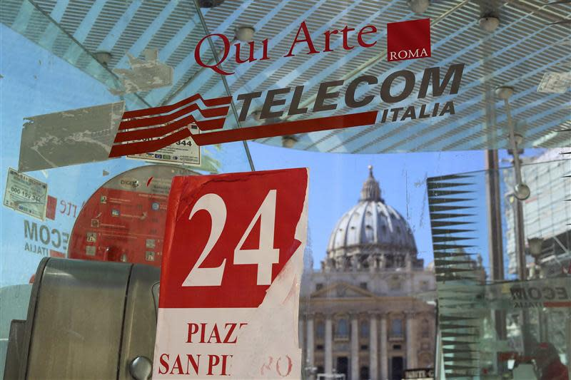 Telecom Italia phone booth pictured in front of St Peter's Basilica in Rome