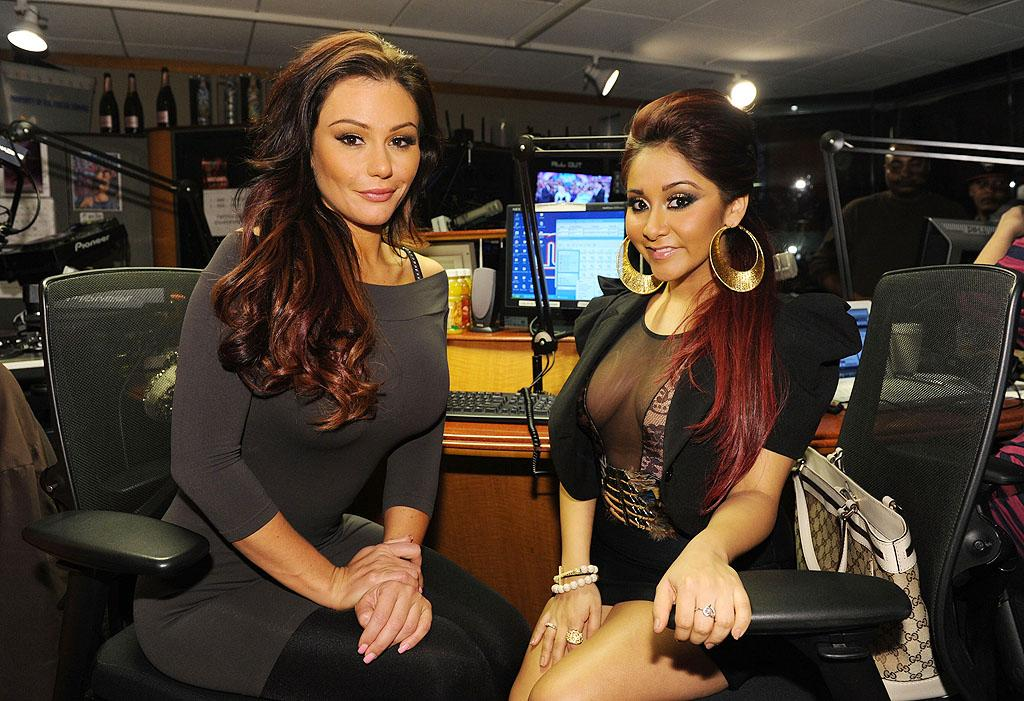 """Party's here! """"Jersey Shore"""" stars Jenni """"JWoww"""" Farley and Nicole """"Snooki"""" Polizzi paid a visit to the SiriusXM Studios in NYC on Wednesday. (2/1/2012)"""