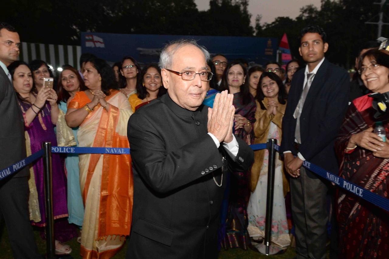 <p>President Pranab Mukjherjee during Navy Day celebrations at Navy House in New Delhi. Photo – IANS </p>
