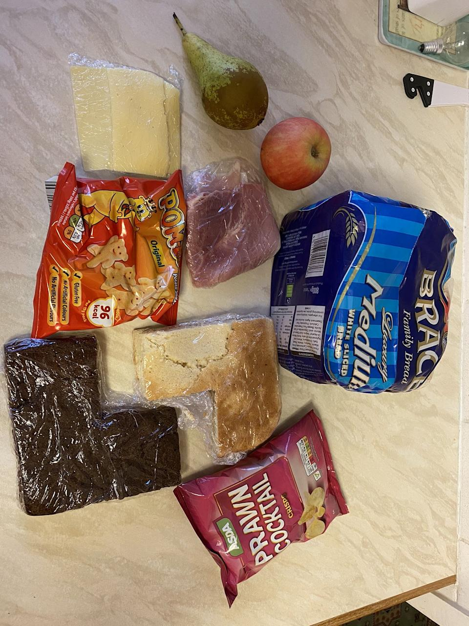 The food package Simon Young received for his 11-year-old daughter Lola's lunches to last her a week. (SWNS)