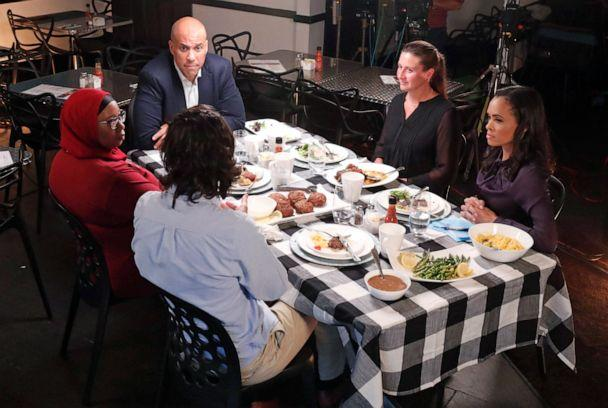 PHOTO: ABC News Correspondent Linsey Davis moderates a conversation with 2020 Democratic presidential candidate Cory Booker and three undecided voters at a restaurant in Newark, N.J., for the next installment of 'Around the Table.' (Lou Rocco/Walt Disney Television)