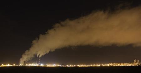 A gas-fired power station is seen during a frosty night in Minsk