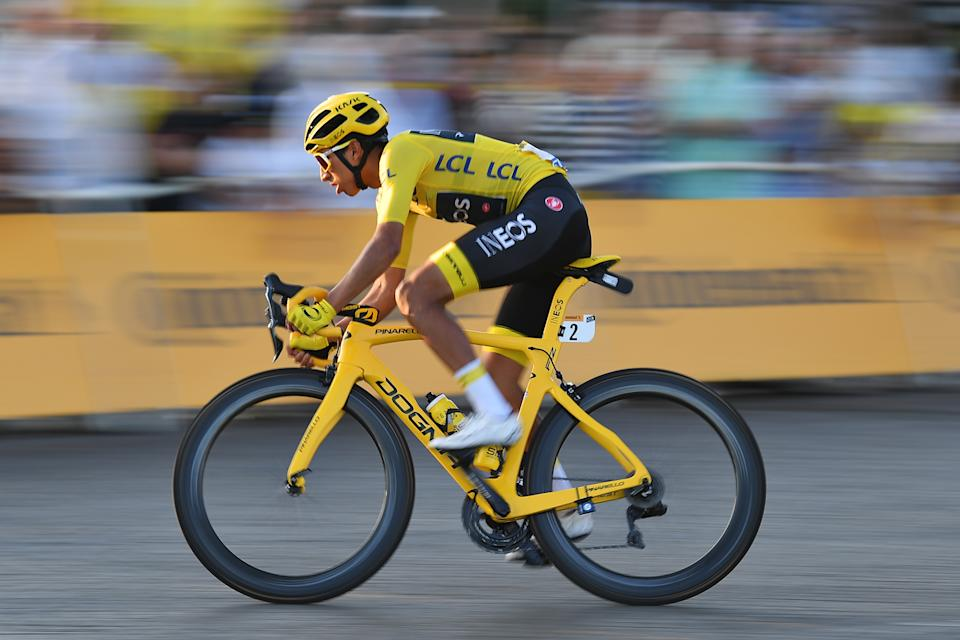 Colombian Egan Bernal of Team Ineos wearing the yellow jersey pictured in action during the final stage of the 106th edition of the Tour de France cycling race, from Rambouillet to Paris Champs-Elysees (128km), France, Sunday 28 July 2019. This year's Tour de France starts in Brussels and takes place from July 6th to July 28th. BELGA PHOTO DAVID STOCKMAN        (Photo credit should read DAVID STOCKMAN/AFP via Getty Images)