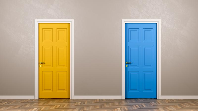 Two doors, a yellow and a blue