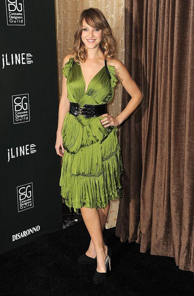 """""""Tron"""" actress Beau Garrett donned a layered green Burberry Prorsum dress for the event. Do you think her look is hot ... or not? Jordan Strauss/<a href=""""http://www.wireimage.com"""" target=""""new"""">WireImage.com</a> - February 22, 2011"""