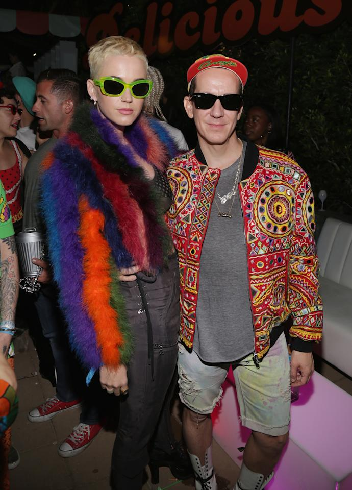 <p>Katy Perry and Jeremy Scott attend the Moschino Candy Crush Desert Party</p>