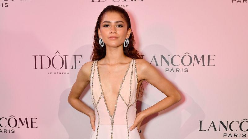 Zendaya, the face of the Lancôme Idôle fragrance, attends the launch at Palais D'Iena on July 02, 2019, in Paris, France.