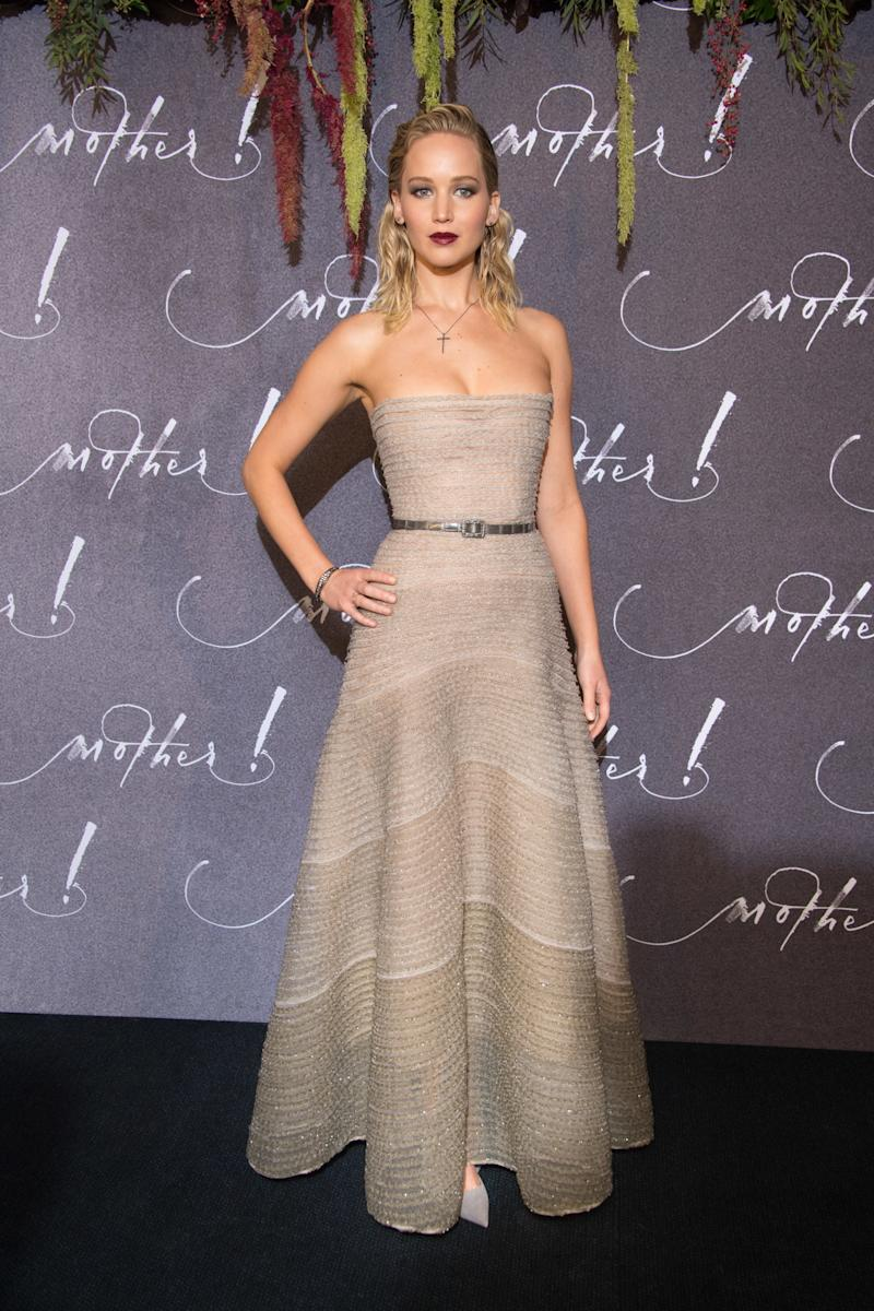 """Jennifer Lawrence attends the French Premiere of """"mother!"""" at Cinema UGC Normandie on September 7, 2017 in Paris, France. (Photo by Stephane Cardinale - Corbis/Corbis via Getty Images)"""
