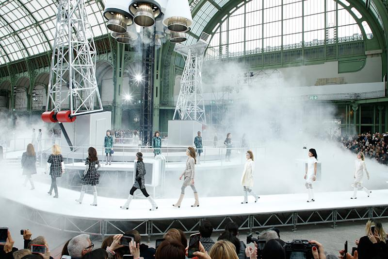 A Rocket takes off as Models walk the runway at the end of the Chanel show as part of the Paris Fashion Week Womenswear Fall/Winter 2017/2018 on March 7, 2017 in Paris, France. (Photo: Getty Images)