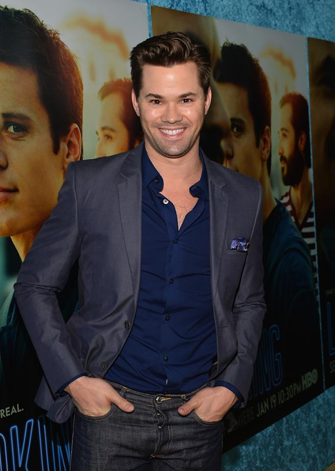 "HOLLYWOOD, CA - JANUARY 15: Actor Andrew Rannells arrives to the premiere of HBO's ""Looking"" at Paramount Theater on the Paramount Studios lot on January 15, 2014 in Hollywood, California. (Photo by Alberto E. Rodriguez/Getty Images)"