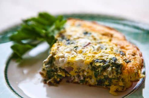 "<strong>Get the <a href=""http://www.simplyrecipes.com/recipes/spinach_frittata/"" rel=""nofollow noopener"" target=""_blank"" data-ylk=""slk:spinach frittata recipe"" class=""link rapid-noclick-resp"">spinach frittata recipe</a> by Simply Recipes.</strong>"