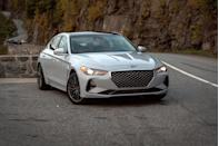 "<p>Like its corporate cousin, the <a href=""https://www.caranddriver.com/kia/stinger"" rel=""nofollow noopener"" target=""_blank"" data-ylk=""slk:Kia Stinger"" class=""link rapid-noclick-resp"">Kia Stinger</a>, the <a href=""https://www.caranddriver.com/genesis/g70-2021"" rel=""nofollow noopener"" target=""_blank"" data-ylk=""slk:2021 Genesis G70"" class=""link rapid-noclick-resp"">2021 Genesis G70</a> aims for luxury sports sedan prowess with an unbeatable price tag—and does it ever deliver. The G70 balances ride refinement and handling prowess in the way that makes the <a href=""https://www.caranddriver.com/bmw/3-series"" rel=""nofollow noopener"" target=""_blank"" data-ylk=""slk:BMW 3-series"" class=""link rapid-noclick-resp"">BMW 3-series</a> and the <a href=""https://www.caranddriver.com/mercedes-benz/c-class"" rel=""nofollow noopener"" target=""_blank"" data-ylk=""slk:Mercedes-Benz C-class"" class=""link rapid-noclick-resp"">Mercedes-Benz C-class</a> so desirable—but both of those cost thousands more to start. Inside, the G70's cabin offers a delightfully refined design and a host of standard convenience features. The rear seat passenger space isn't as spacious as some of its rivals' and its infotainment interface is in need of an update, but otherwise, it's difficult to find fault with what is an overall excellent package.</p><p><a class=""link rapid-noclick-resp"" href=""https://www.caranddriver.com/genesis/g70-2021"" rel=""nofollow noopener"" target=""_blank"" data-ylk=""slk:Review, Pricing, and Specs"">Review, Pricing, and Specs</a></p>"