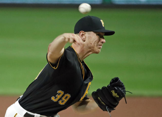 Pittsburgh Pirates starting pitcher Chad Kuhl delivers in the first inning of the team's baseball game against the San Francisco Giants in Pittsburgh, Saturday, May 12, 2018. (AP Photo/Gene J. Puskar)