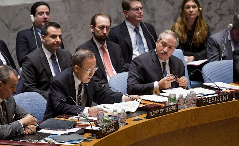 Jordanian Foreign Minister and President of the United Nations Security Council Nasser Judeh , right, listens to U.N. Secretary-General Ban Ki-moon during a meeting of the United Nations Security Council at U.N. headquarters, Monday, Jan. 20, 2014. (AP Photo/Craig Ruttle)