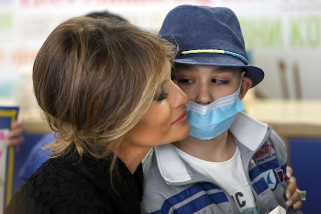 <p>First lady Melania Trump visits the pediatric hospital Bambin Ges on May 24, 2017 in Rome, Italy. (Photo: Vatican Pool – Corbis/Corbis via Getty Images) </p>