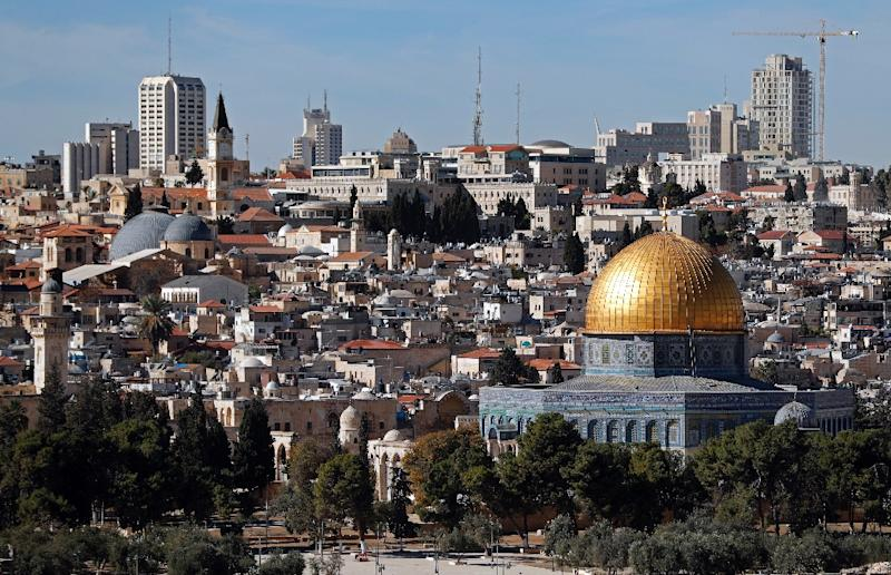 A general view of the city of Jerusalem shows the Dome of the Rock mosque