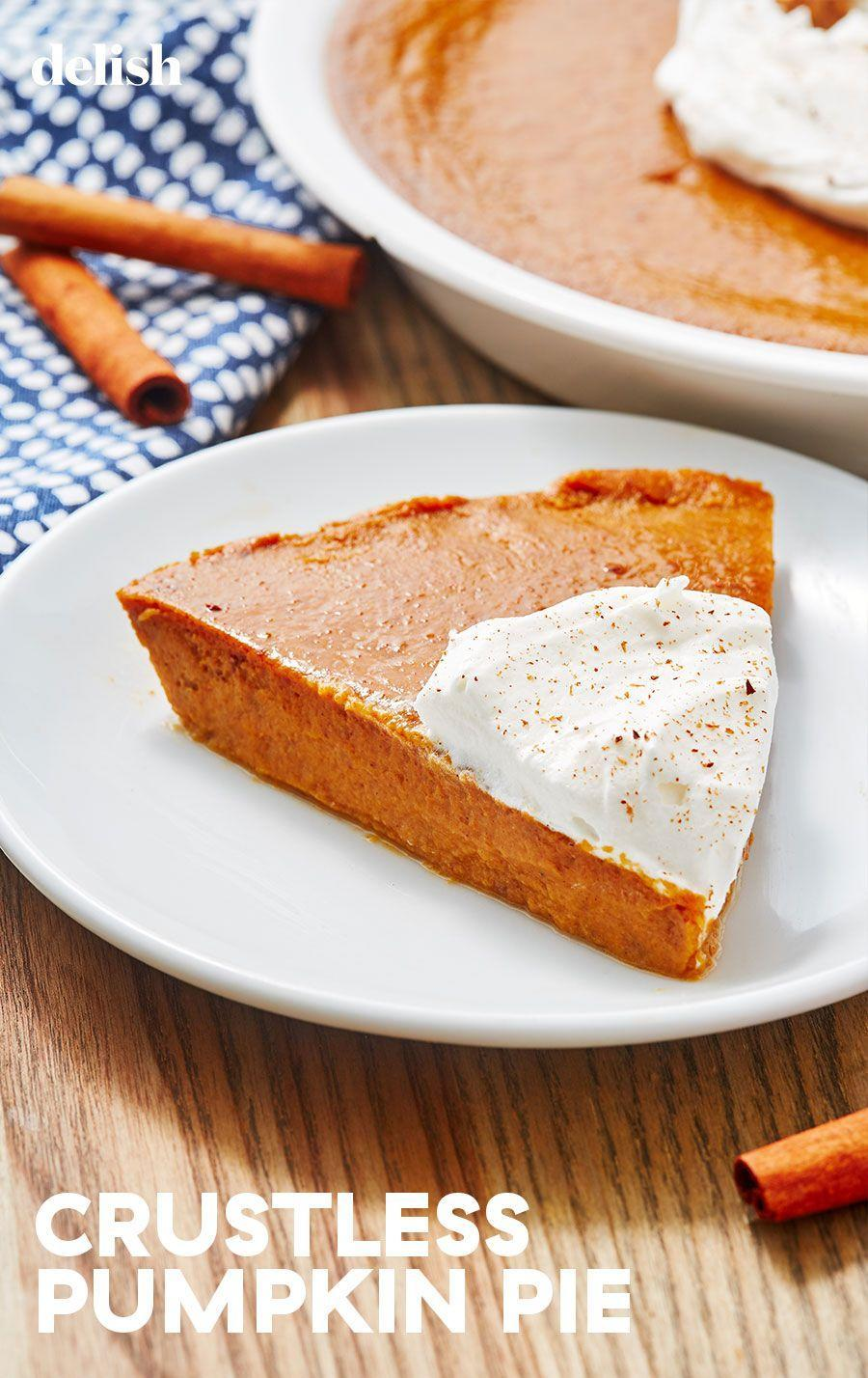 """<p>Focus on what's really important: That pumpkin filling. </p><p>Get the recipe from <a href=""""https://www.delish.com/cooking/recipe-ideas/a28576182/crustless-pumpkin-pie-recipe/"""" rel=""""nofollow noopener"""" target=""""_blank"""" data-ylk=""""slk:Delish"""" class=""""link rapid-noclick-resp"""">Delish</a>.</p>"""