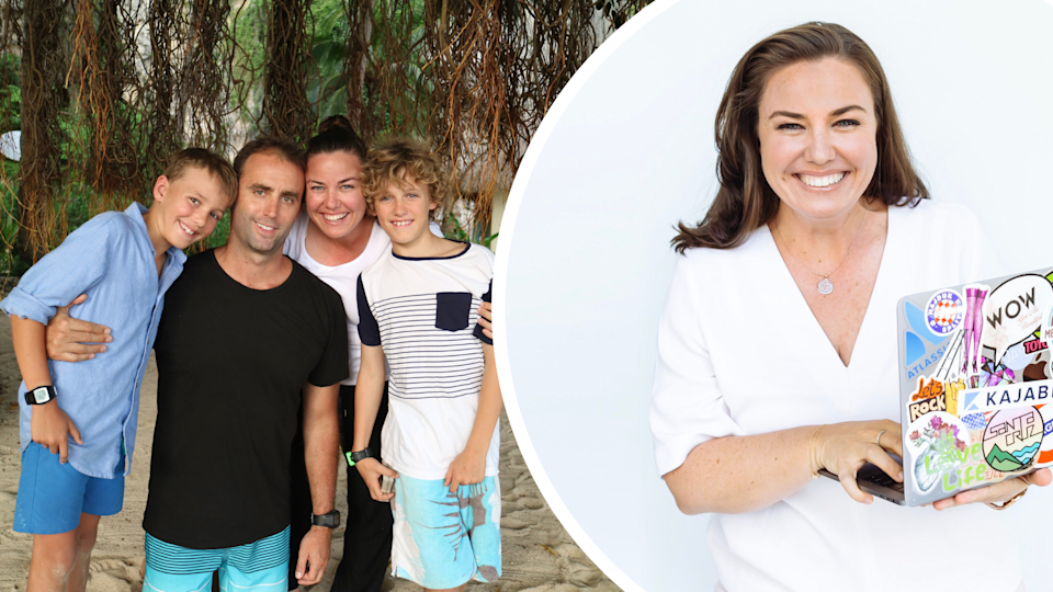 Pictured: Millionaire businesswoman Tina Tower and her family.  Images: Supplied