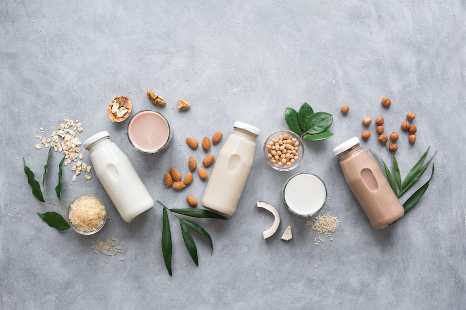 Various Vegan plant-based milk and ingredients