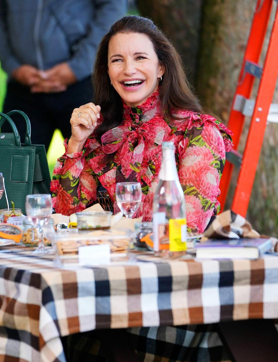 <p>Kristin Davis has something to smile about on Sept. 20 while filming <em>And Just Like That ...</em> in New York City.</p>