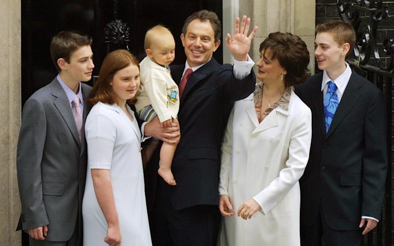 The Blairs on the steps of Downing Street in 2001 - ODD ANDERSEN